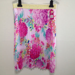 Candie's Pink Pleated Floral Skirt - Elastic Gold